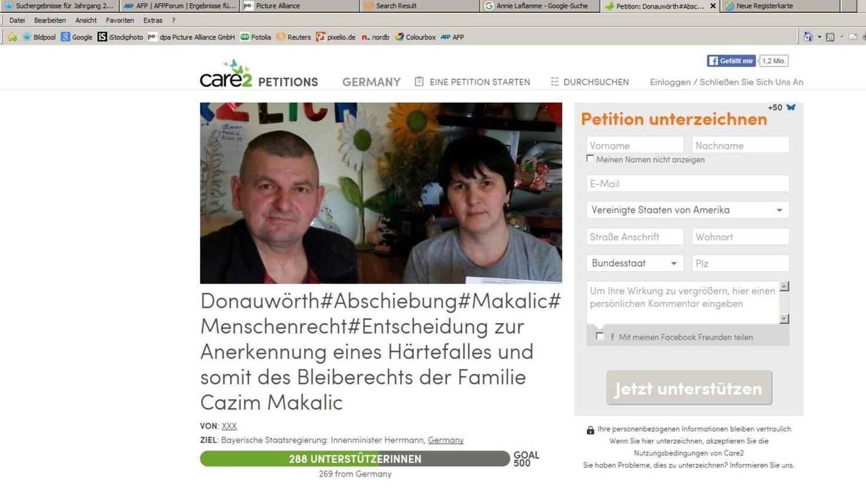 Das Schicksal von Cazim Makalic und seiner Familie bewegt die Menschen. Mehr als Tausend haben eine erste Petition unterschrieben, die dann an der CSU-Mehrheit im Landtag gescheitert war. Jetzt versuchen sie es erneut über das Internet.