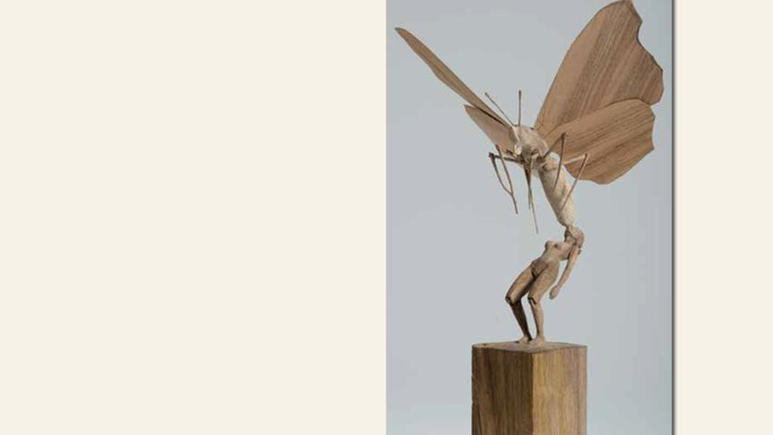geb. 1969 in Bamberg lebt in Nürnberg Schmetterling (2016) 40 cm hoch Nussbaum