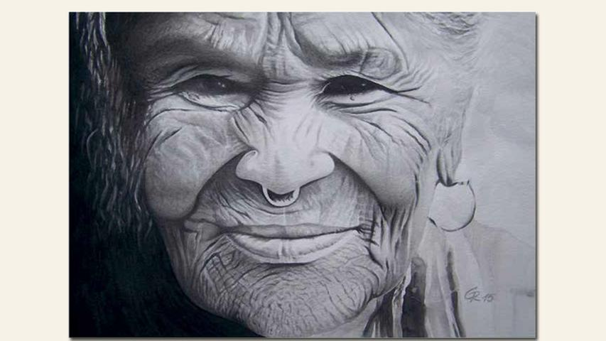geb. 1952 in Nürnberg lebt in Schwanstetten Alte mongolische Frau 40 x 50 cm Aquarell