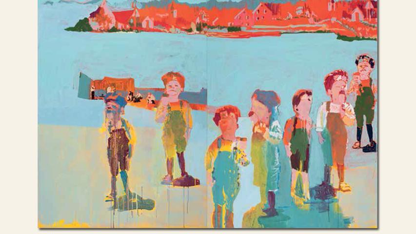 geb. 1959 in Amberg lebt in Nürnberg Ammertal (2015) 100 x 200 cm Acryl auf gefärbte Leinwand