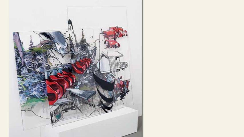 geb. 1958 in Nürnberg lebt in Fürth Stapel: Stadt, Land, Fluss (2015) 120 x 150 x 30 cm Hinterglasmalerei auf Acrylglas