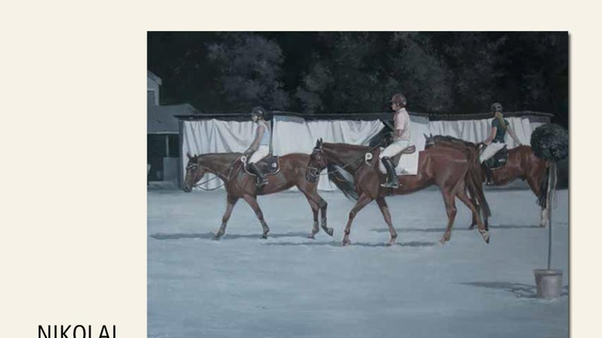 geb. 1966 in Frunse, UdSSR lebt in Ochsenfurt Pferde – Vor dem Reitturnier (2015) 80 x 100 cm Öl auf Leinwand nominiert vom Preisstifter