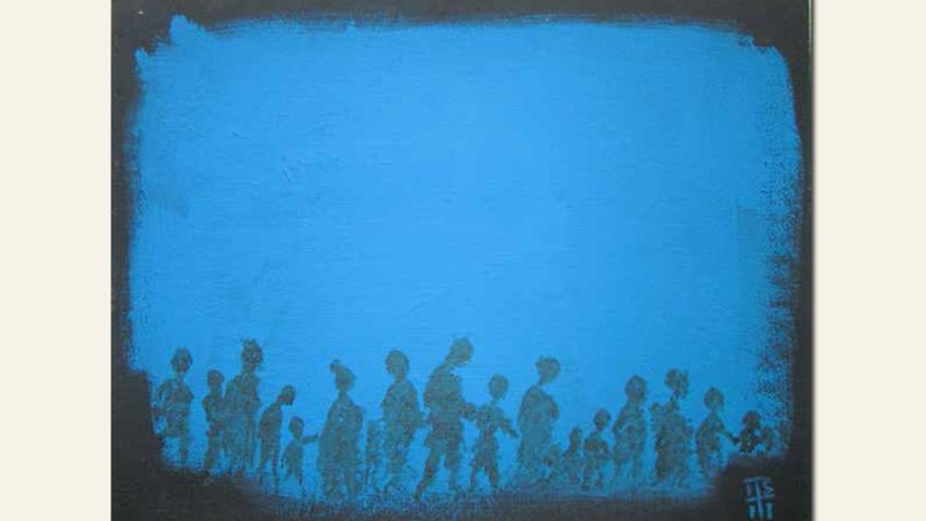 geb. 1954 in Nürnberg lebt in Hersbruck LAMPEDUSA (Lesbos) (2015) 45,5 x 35 cm Acryl, Tusche auf MDF
