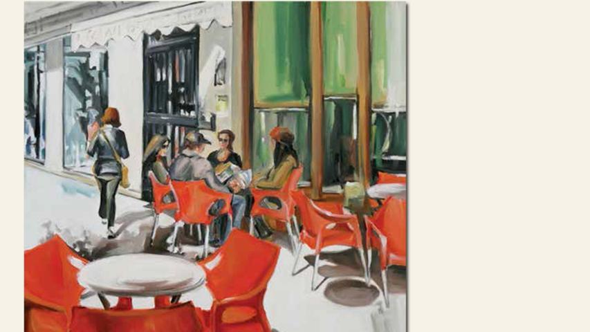 geb. 1964 in Neumarkt lebt in Neumarkt Straßencafe (2016) 80 x 80 cm Acryl auf Leinwand