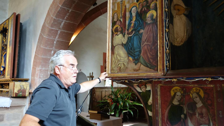 Ein Prachtwerk der Sakralkunst aus der Mitte des 15. Jahrhunderts ist der Marien-Altar in Veitsbronn, dessen Bildprogramm Hans Feder erklärt. Er könnte in der Werkstatt des berühmten Valentin Wolgemut entstanden sein.