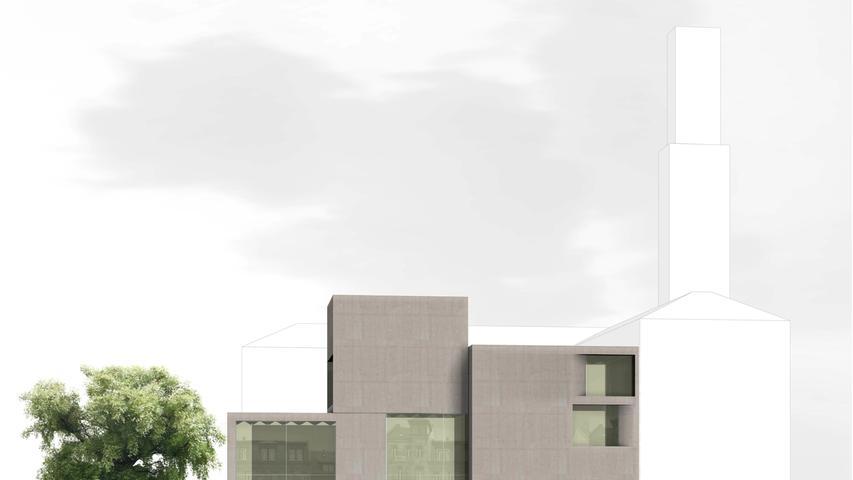 Der Neubau mit versetzt gestapelten Quadern wird moderne Akzente in das Rathaus-Umfeld bringen.