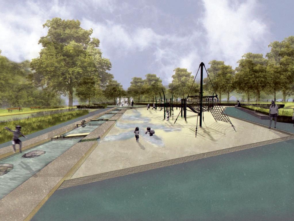Wasserspielplatz mit Kletterspielgerät