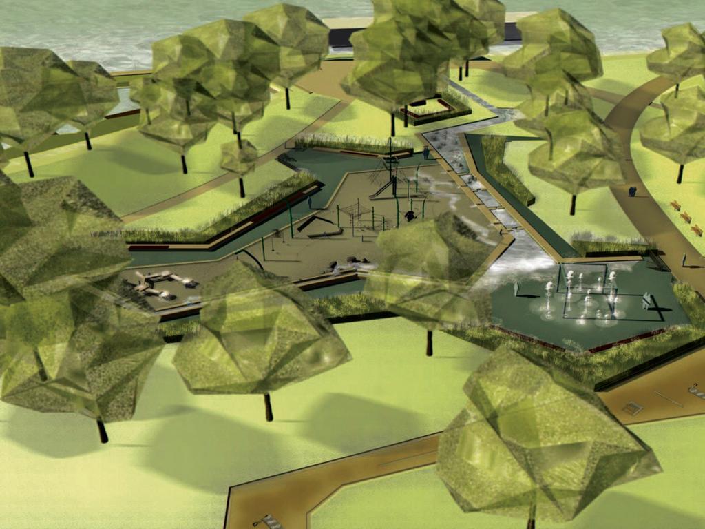 Visualisierungen der Bucht am Norikus  Blick über den Wasserspielplatz