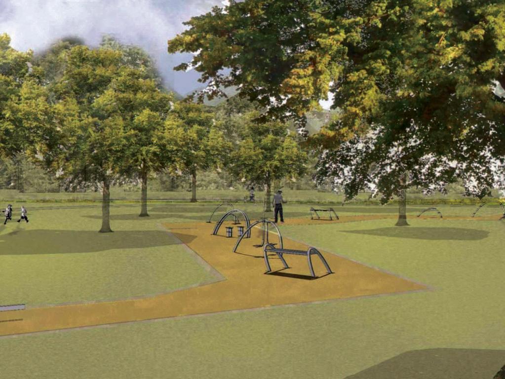 Visualisierungen der Bucht am Norikus  Bewegungspark mit Fitnessgeräten