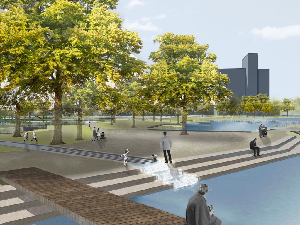 Visualisierungen der Bucht am Norikus  Der Wasserlauf mündet bei der Umweltstation in den Wöhrder See.Von diesem  Standpunkt hat man in Zukunft eine neue attraktive Perspektive auf den See und  die Parkanlage.