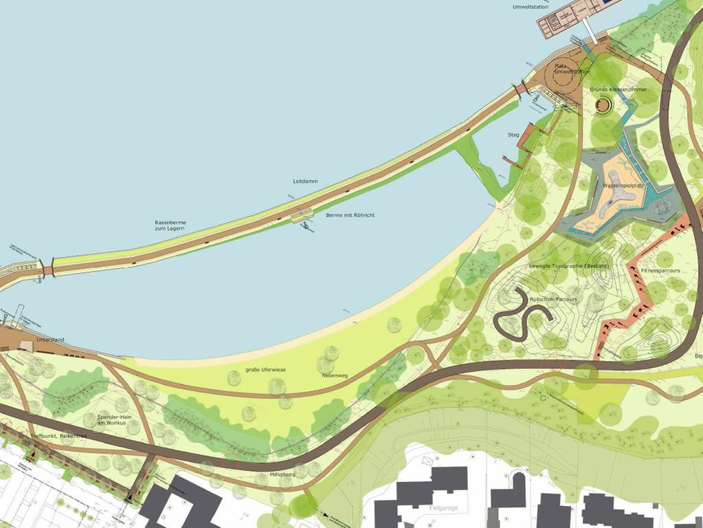 Visualisierungen der Bucht am Norikus  Die Übersicht über den Spielplatzbereich zeigt das abwechslungsreiche Angebot  für Kinder unterschiedlicher Altersklassen. Bei der Neuplanung wurden die vorhandenen Strukturen der alten, vorhandenen Beton-Wasserbecken integriert.