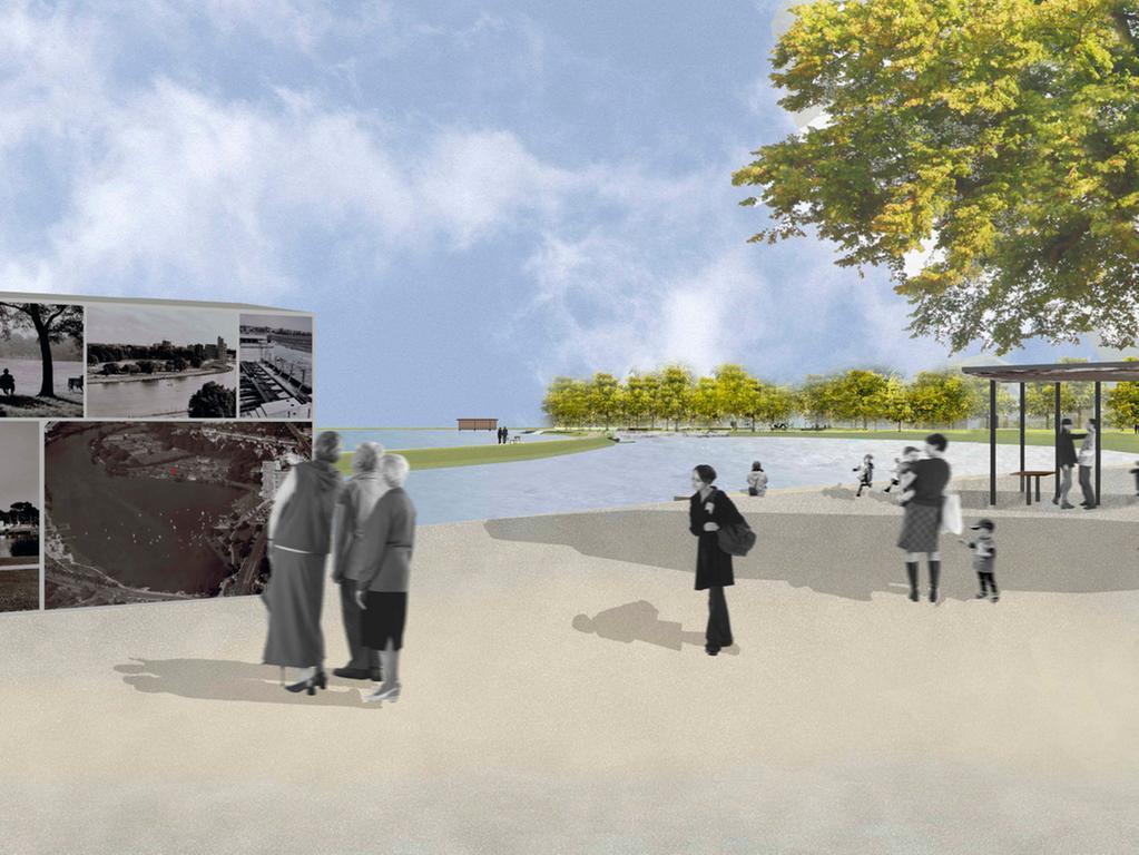 Visualisierungen der Bucht am Norikus  Südlicher Wasserplatz