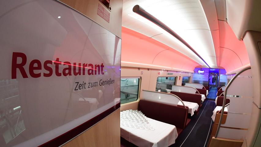 The restaurant of a new ICE 4 high speed train of German railway operator Deutsche Bahn is pictured in Berlin on September 13, 2016..Deutsche Bahn is presenting the new, fourth generation model of it's Inter City Express (ICE) high speed train, that the company plans to put into servic in December 2017. / AFP PHOTO / TOBIAS SCHWARZ