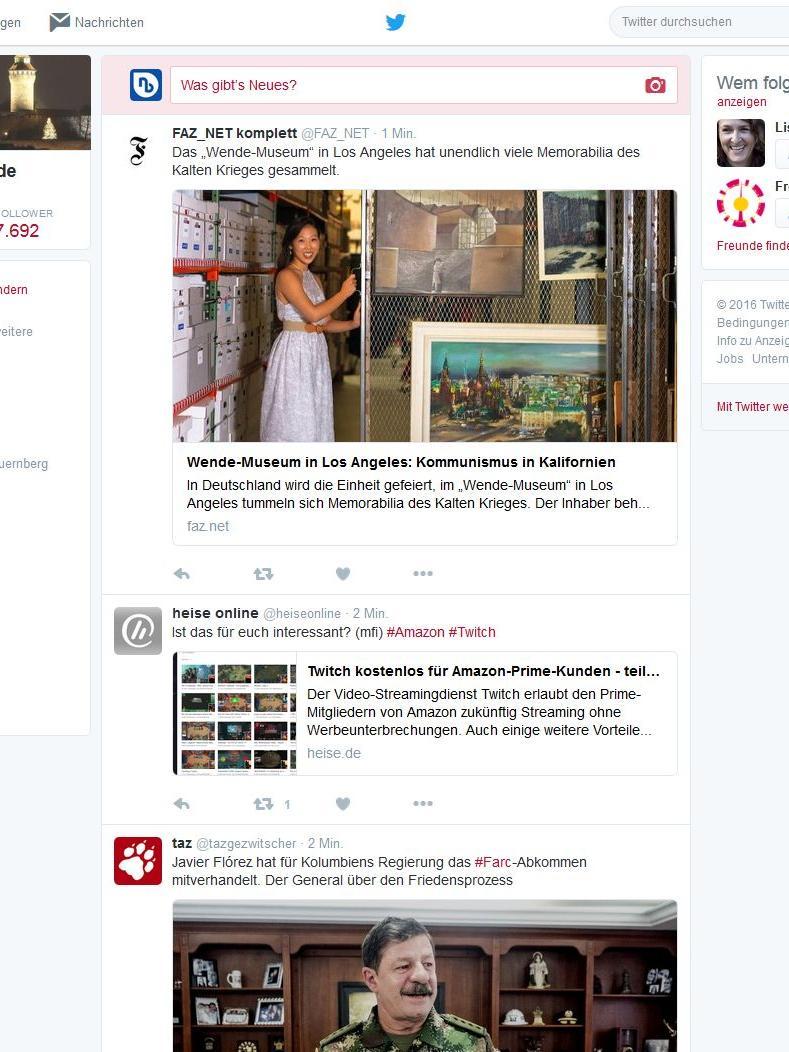 Mikroblogging-Dienst oder einfach die Plattform, auf der sich alle Nutzer rumtreiben, die sich für zu schlau für Facebook halten: Anfangs gab Twitter seinen Nutzern 140 Zeichen, um sich in einem Tweet auszudrücken. Mittlerweile sind es 280 Zeichen. In der Timeline der Nutzer tauchen diese Tweets dann chronologisch auf. Der Dienst ging 2006 ans Netz. Und hat mittlerweile mit der Konkurrenz zu kämpfen. Trotzdem gehört Twitter weiterhin zu den größten und bekanntesten sozialen Netzwerken.   Unsere Twitter-Adressen: @nordbayern | @NZ_Online | @NN_Online | @Blaulicht_Nürnberg