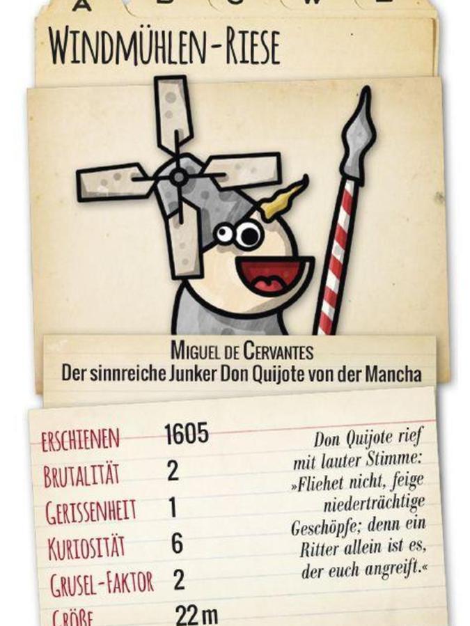 """Miguel de Cervantes """"Windmühlen-Riese"""" aus """"Don Quijote"""" kommt lediglich auf Grusel-Faktor zwei: """"Monster! – Das literarische Trumpfkartenspiel"""" gehört ebenfalls zum Programm des Erlanger Verlags """"homunculus""""."""