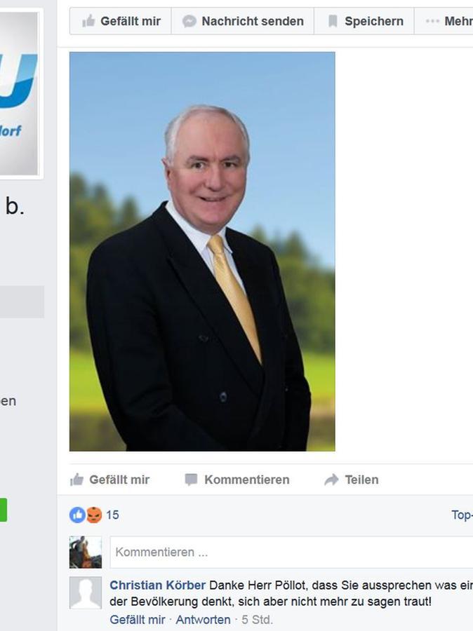 Altdorfs dritter Bürgermeister, Dr. Johann-Peter Pöllot, auf der Facebook-Seite des CSU-Ortsverbands.