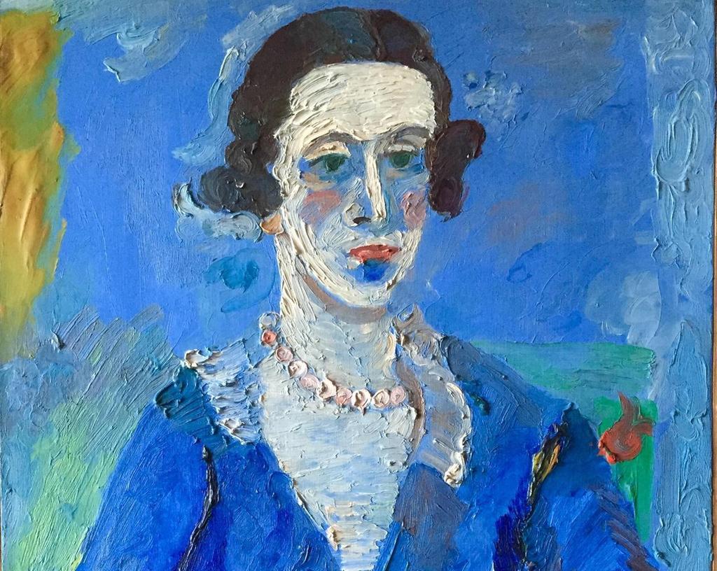 Der Kunsthändler Wilhelm Uhde im blauen Kleid, gemalt von Andrè Lanskoy (1902-1976), einem heute nahezu vergessenen Maler.