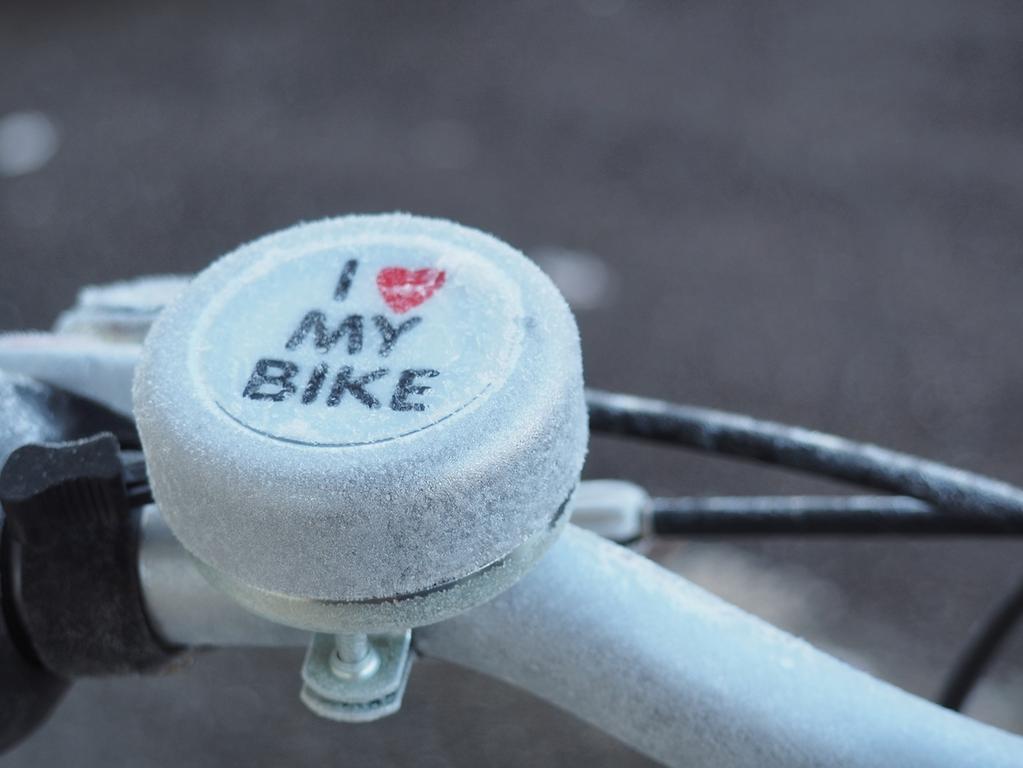 Eisiges Gunzenhausen   Frost und Reif an Fahrradklingel