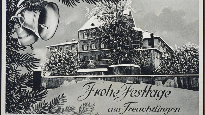 Weihnachtliche Grußkarte mit dem Treuchtlinger Stadtschloss - vermutlich um das Jahr 1950. Auf der Rückseite der Karte steht: