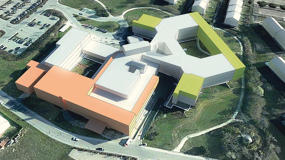 Großes vor: In zwei Bauabschnitten soll das Klinikum Altmühlfranken in Weißenburg wachsen. Die lachsfarbenen Elemente bilden den ersten Bauabschnitt, der auf acht Jahre veranschlagt ist, die grünen Elemente sollen in einem zweiten Bauabschnitt folgen. Die Gesamtinvestition liegt bei mindestens 70 Millionen Euro. Die Zahl der  Betten wird sich durch die Erweiterung nicht verändern.