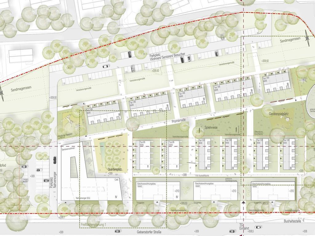 Laut Entwürfen des Bauträgers soll dort ein neues Quartier mit Wohnbau, Seniorenheim, Kindertagesstätte und Nahversorger entstehen.