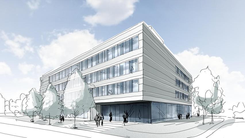 Der Entwurf des Medical-Valley-Zentrums. 2013 im März fiel die Grundsatzentscheidung, das Medical-Valley-Zentrum in Forchheim zu bauen. Im Februar 2014 wurde der Architekturwettbewerb europaweit ausgeschrieben. Den Zuschlag bekam das Ludwigsburger Büro agn.