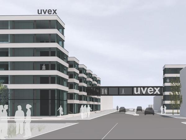 . . . soll stattdessen im vorderen Bereich ein auffälliger Riegel mit Bürokomplexen für die Firma Uvex entstehen.