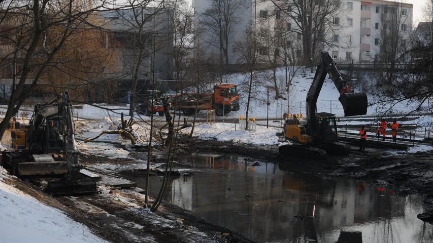 Eiskalter Job im Stadtpark: Schlammschippen mit dem Bagger.