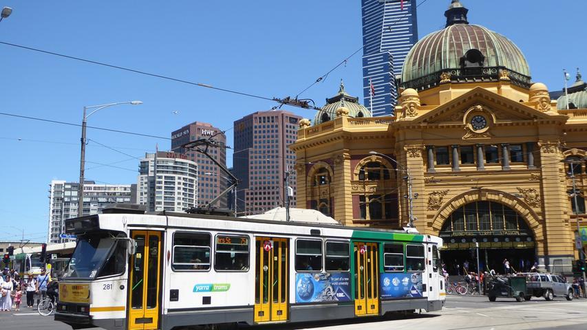 Die Flinders Street Station in Melbourne: Straßenbahnfahren ist im Zentrum der zweitgrößten Stadt Australiens kostenlos. Das hat die