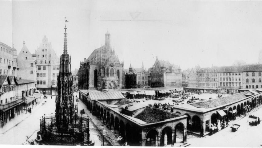 In den Kolonnaden verkauften die Händler bis zum Abbruch 1895 auf dem Hauptmarkt ihre Waren.
