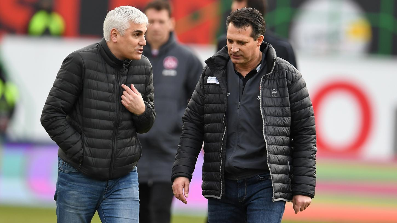 Sportvorstand Andreas Bornemann (links) und Trainer Alois Schwartz hatten nach der 0:1-Niederlage in Fürth offenbar Redebedarf.