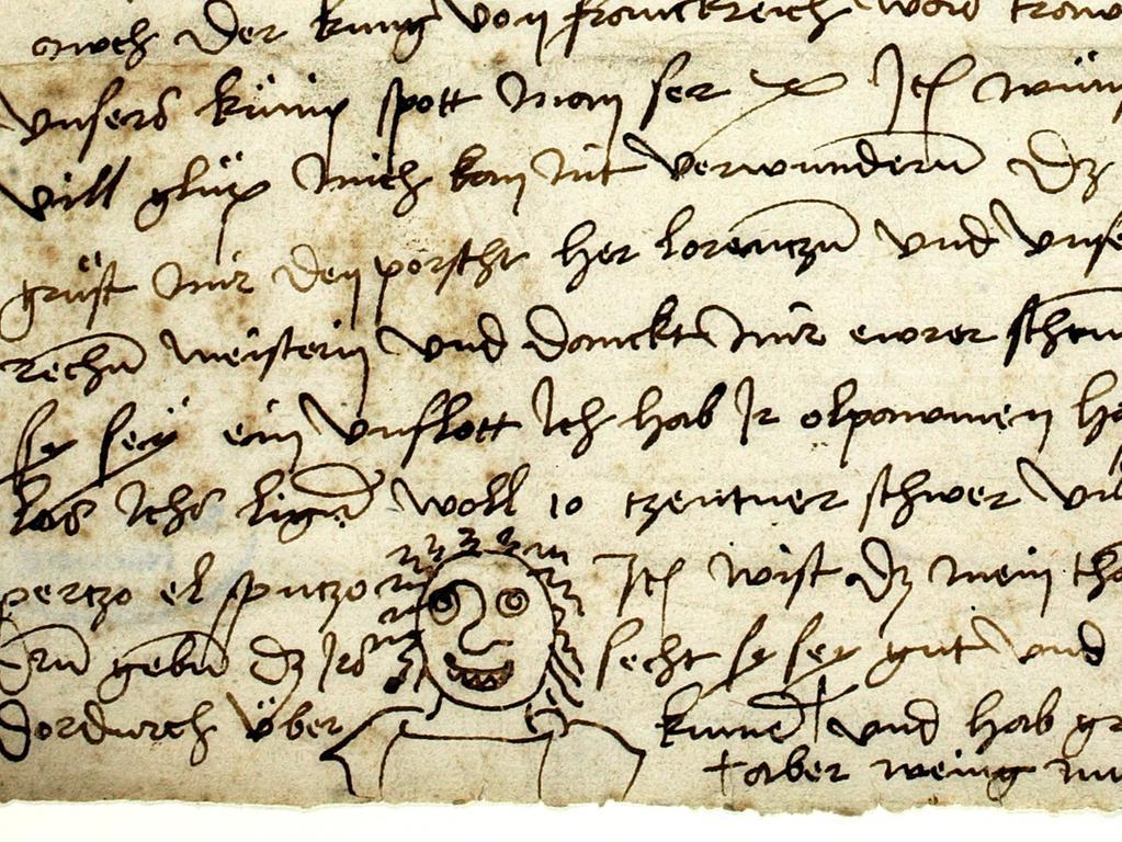Y und I verwendete Dürer beim Schreiben für kurzes und langes i. Für die Umsetzung der Sprache in Schrift stand ihm kein festes Regelwerk zur Verfügung. Das heißt, er schrieb weitestgehend so, wie er sprach. Hier ein paar Beispiele: Für ein lages a verwendete er oft o: Nochteil = Nachteil. Dem Nürnberger Dialekt entsprechend machte er zwischen b und w kaum Unterschiede: erwern/erbern = arbeiten. Das Foto zeigt einen Brief Dürers an Pirckheimer von 1506.
