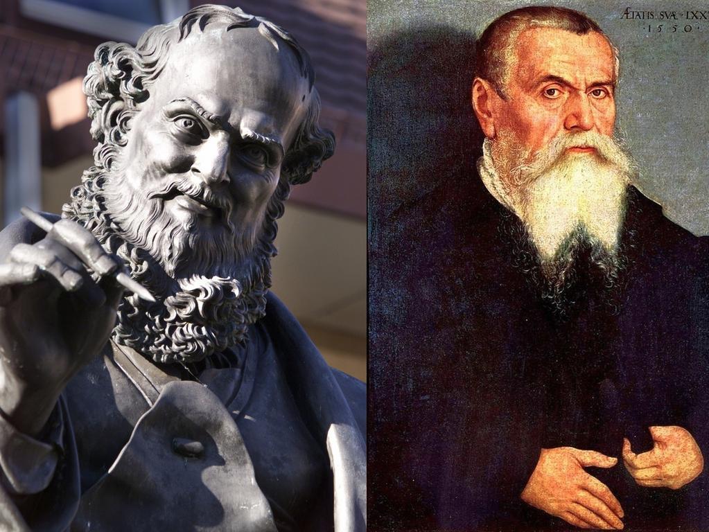Zeitgenossen Dürers waren unter anderem (v.li.) Peter Henlein, Hans Sachs, Lucas Cranach d. Ä. und Erasmus von Rotterdam.