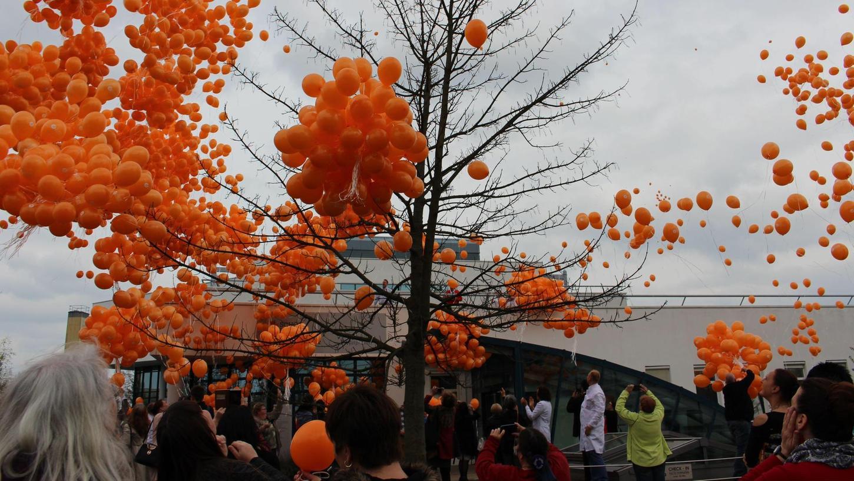 Beeindruckend: Für jedes Kilo, das sie seit ihrer OP abgenommen haben, ließen Patienten der Schön-Klinik Nürnberg/Fürth an einem Adipositas-Aktionstag einen orangefarbenen Luftballon steigen. Insgesamt hoben fast 6000 Stück ab.