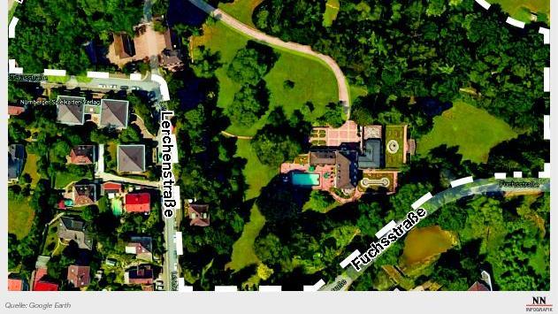 Die Schickedanz-Villa im Zentrum des Bildes steht auf einem riesigen Grundstück, das von Fuchs-, Lerchen-, Forsthaus- und Dianastraße gesäumt wird. Rechts oben grenzt es an den Wiesengrund. Im Gespräch für eine mögliche Bebauung ist jetzt das Areal an der Zufahrt, sprich: oberhalb der Kurve, wo die Lerchen- in die Forsthausstraße übergeht.