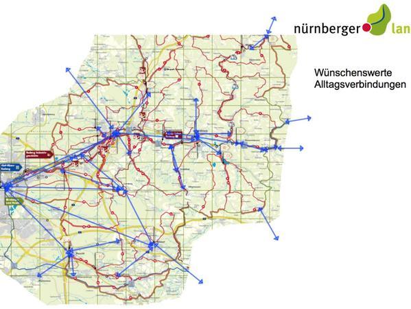 """Die Karte zeigt als blaue Pfeile die """"wünschenswerten Alltagsverbindungen"""", die Radverkehrsbeauftragte Tina Paulus ausfindig gemacht hat."""
