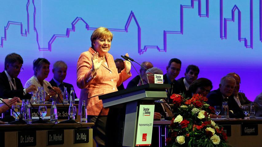 Deutscher Städtetag im Mai 2017: Bei der Hauptversammlung stand auch Bundeskanzlerin Angela Merkel in Nürnberg hinter dem Rednerpult.