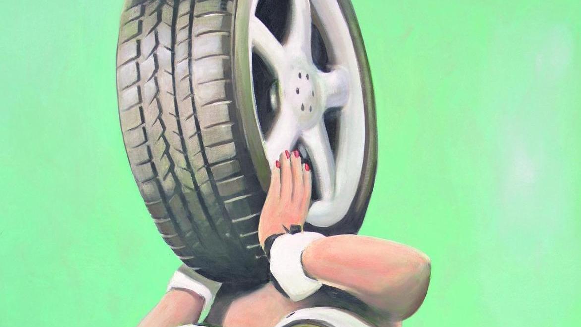 """""""Automobilistin"""", ein Gemälde von Stephan Widera."""