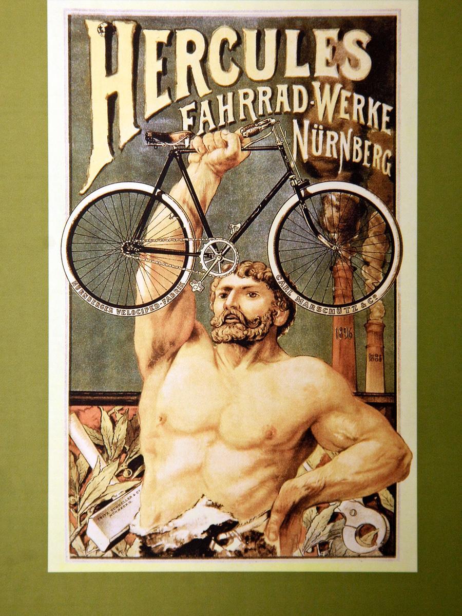 Hercules und seine örtlichen Mitbewerber deckten einst den Großteil des deutschen Bedarfs ab. Um 1900 herum stammten vier von fünf Rädern in Bayern aus den Werkhallen der Fahrrad-Hochburg Nürnberg.