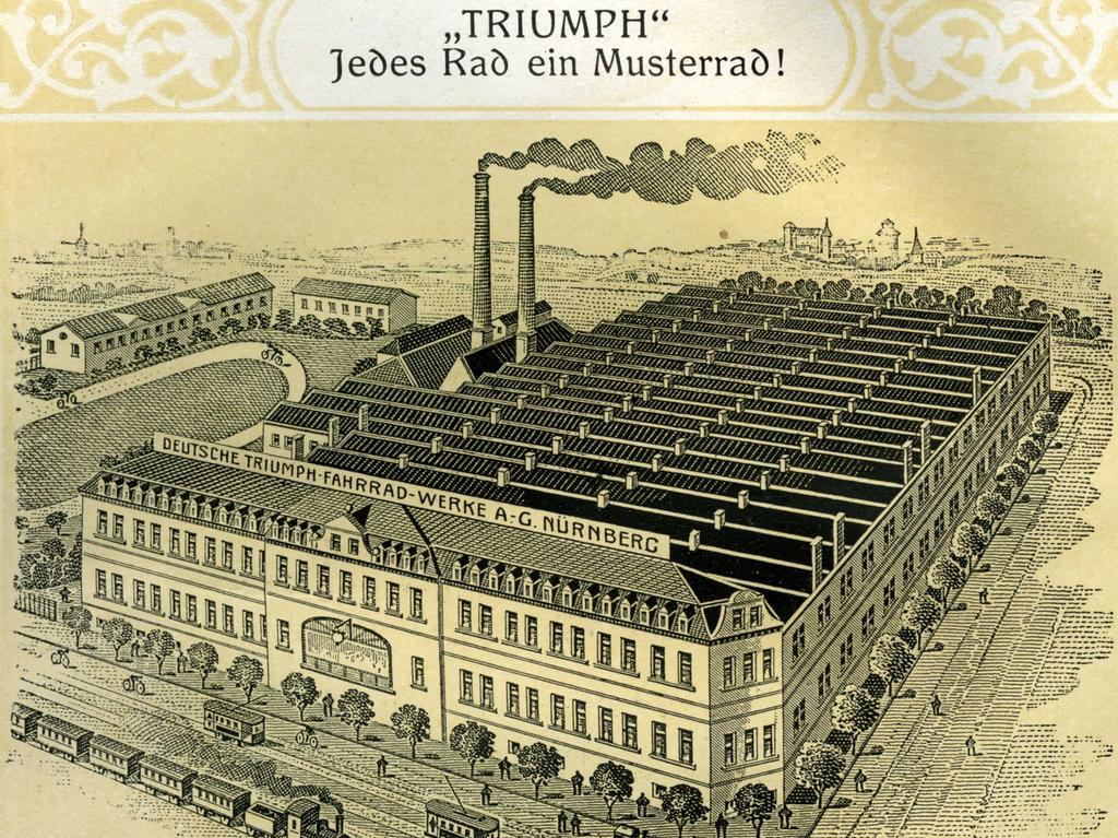 Ein weiterer namhafter Hersteller in Nürnberg war die Triumph Werke AG. Hier eine Außenansicht der Produktionsstätten in der Fürther Straße. Neben den Fabrikhallen hatte das Unternehmen eine Teststrecke für seine Produkte.