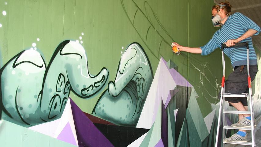 So entstand das Graffiti-Kunstwerk an der Ramstertalstraße Ebermannstadt