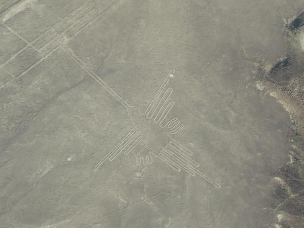 Vom Flugzeug aus sieht man deutlich die Figuren im Felsboden.