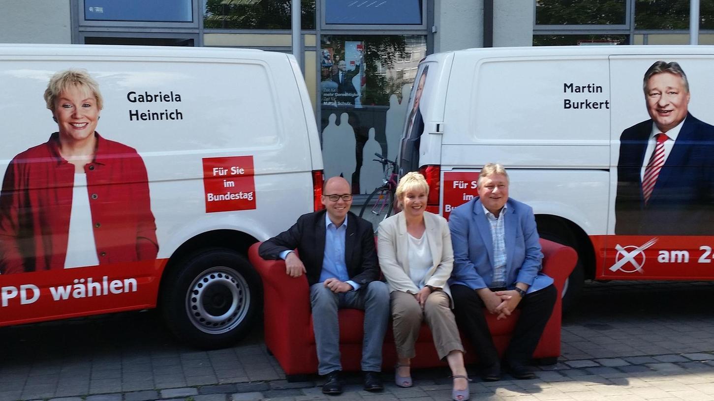 Thorsten Brehm, Gabriela Heinrich und Martin Burkert (von links) wollen im Wahlkampf das Gespräch mit den Menschen suchen.