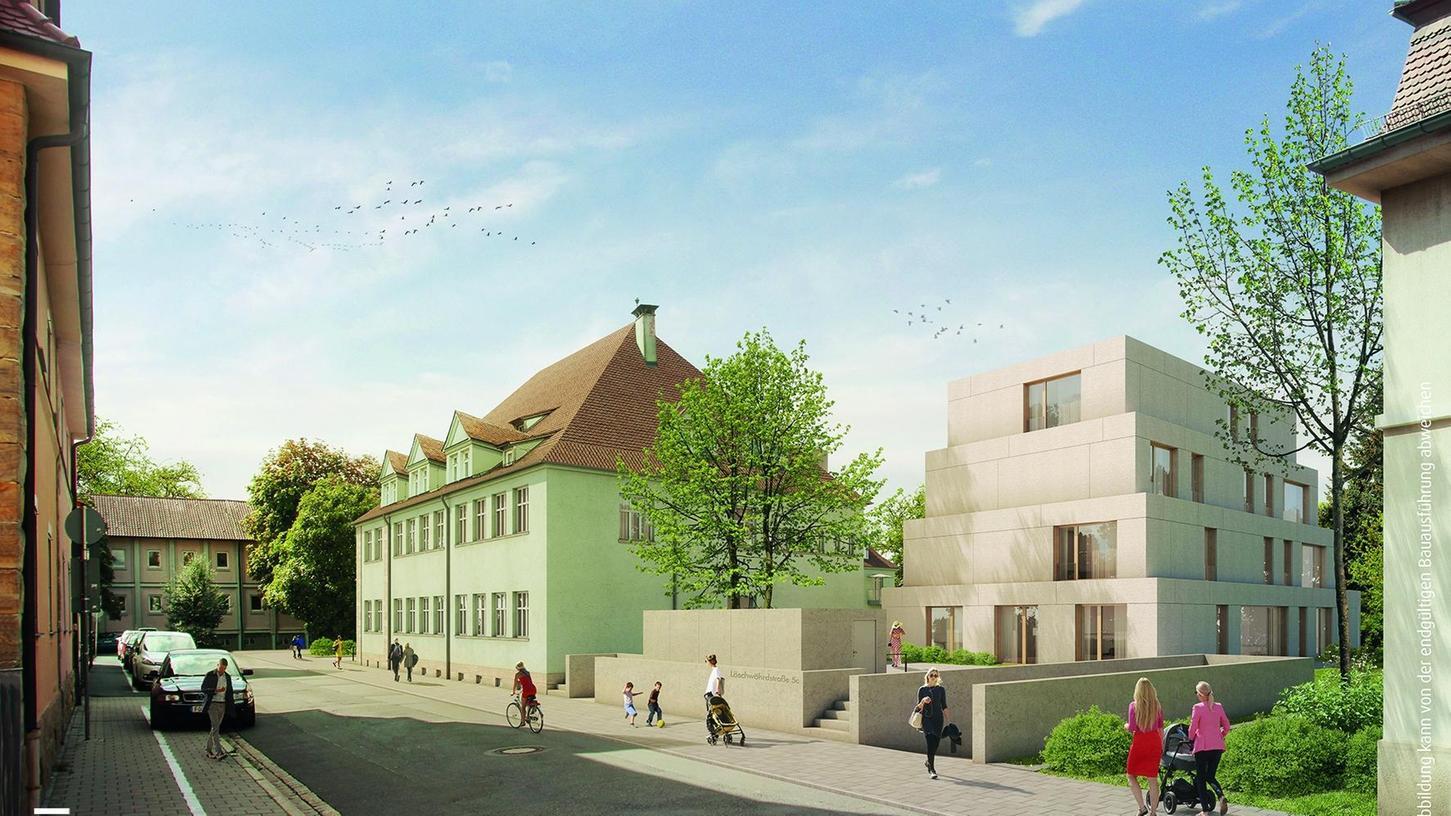 Die Illustration zeigt den Blick von der Stauffenbergstraße in Richtung Löschwöhrdstraße: Rechts der pyramidenförmige Neubau im Hof des denkmalgeschützten Gebäudes (Mitte), davor die Einfahrt zur Tiefgarage.