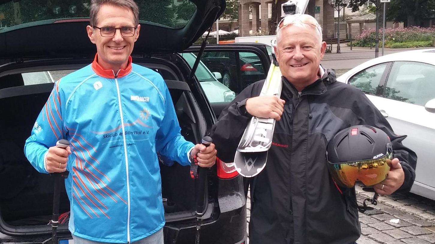 """""""Es gibt kein schlechtes Wetter, nur schlechte Kleidung"""", ist das Credo des Vorstands des Skiclubs Biberttal: Gerhard Böhm (links) und Heinz Straßner."""