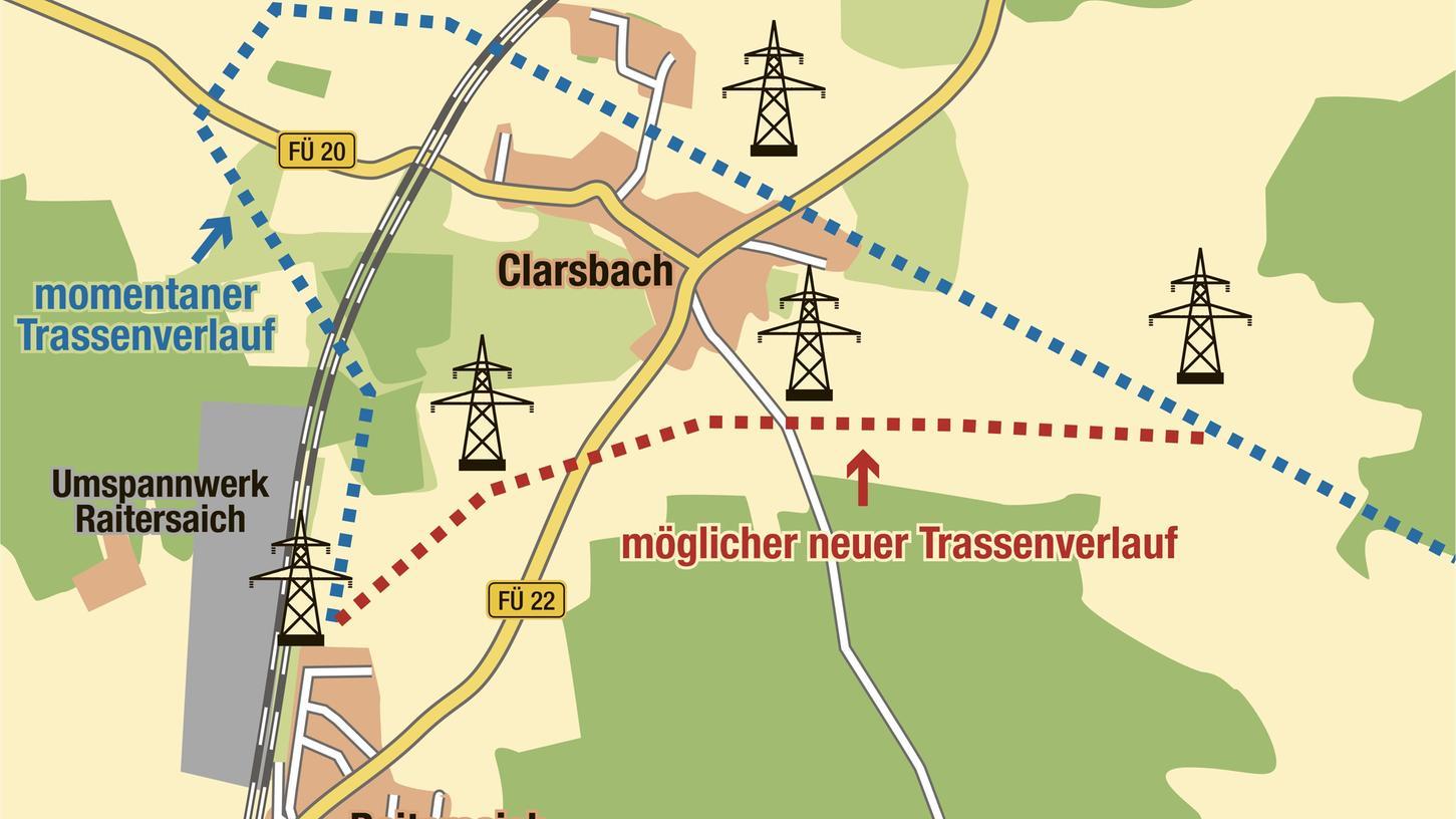 Die Abkürzung zwischen Raitersaich und Clarsbach zeigt die rote Linie. Die Bürger fürchten, die neue Stromleitungs-Trasse könnte zwischen den beiden Dörfern gebaut werden und ihnen so die Entwicklungsmöglichkeiten nehmen.