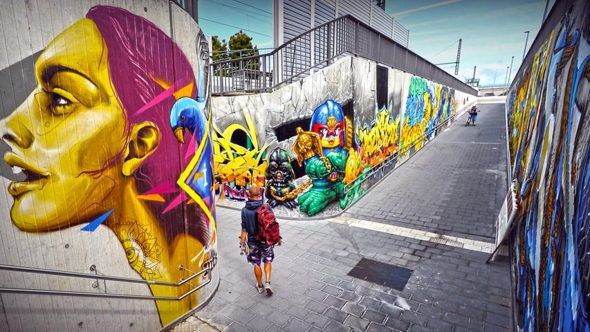 Graffiti-Kunst unterm Baiersdorfer Bahnhof