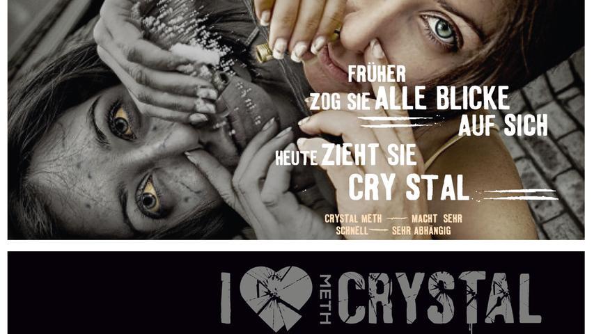 ... der Konsumenten nichts ändern. Hier ein Motiv aus der Postkartenkampagne der Initiative Mindzone, die auf die Gefahr von Drogen, hier insbesondere von Crystal, aufmerksam macht. Handel und Besitz von Amphetaminen und Methamphetaminen ohne entsprechende Erlaubnis sind strafbar.