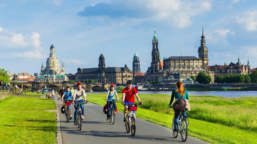 Elberadweg in Dresden.