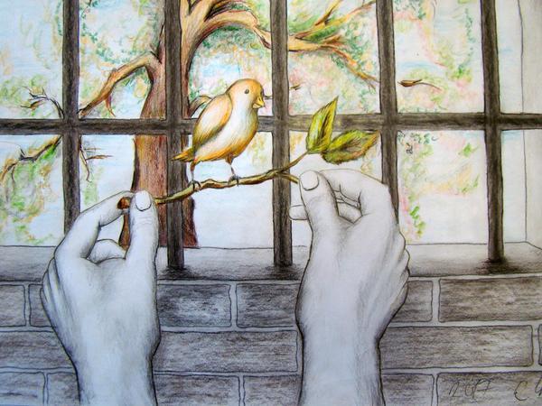 Gemälde von Untersuchungshäftlingen — wie das mit einem Zweig, auf dem ein Vogel sitzt, den zwei Hände an einem vergitterten Fenster halten — sind bei den Gostenhofer Aterliertagen ebenso dabei wie ...
